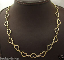 """17"""" Open Heart Chain Necklace with Toggle Clasp Real 14K Yellow Gold"""