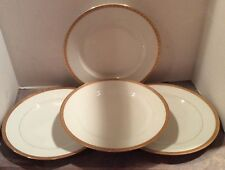 4 Victoria White China w/ Gold Encrusted Trim Dinner Plates - Czechoslovakia