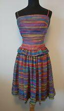 "Vintage Frank Usher Cocktail Dress Acid Rainbow Chiffon 6 4  XS 25"" waist"