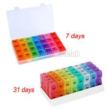 7 Day/ 31 Day Pill Box Organizer Medicine Vitamins Storage Container Travel Case