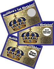 PRINCE CROWN 1ST BIRTHDAY CUSTOM SCRATCH OFF OFFS PARTY GAME GAMES CARDS FAVORS