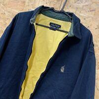 90s Vintage NAUTICA Harrington Coat Bomber Jacket Full Zip | Mens M | Navy Blue