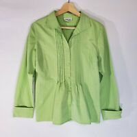 Coldwater Creek Womens Small Ruffled Blouse Green Career