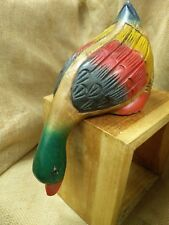 "Fair Trade Hand Carved Acacia Painted Wooden Shelf Duck Ornament -10"" - 70097-02"