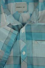 O'Neill Hombre Azul & Gris Geométrico ALGODÓN CASUAL Camisa S Pequeña