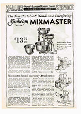 1933 AD PORTABLE SUNBEAM MIXMASTER, FOOD CHOPPER, CAN OPENER, KNIFE SHARPENER