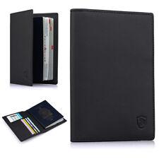Genuine Leather Passport Case Holder RFID Blocking Travel ID Credit Card Wallet