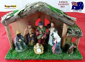 NATIVITY SET SCENE WITH 7 FIGURES AND WOODEN CRECHE STABLE 8 PIECE SET NEW WL-37