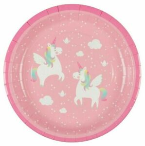 Unicorn Paper Party Plates Rainbow Pink Sass & Belle Picnic Disposable Birthday