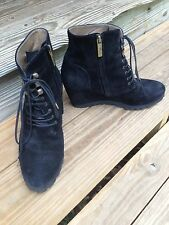 Anyi Lu black suede Vibram Wedge ankle Boots  shoes women size 39 -8.5 US