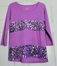 Justice Purple Sequin 3/4 SleeveTop - Girls Size 16