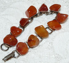 Lovely Vintage Gold Tone Amber Glass Stone Link Bracelet  U41*