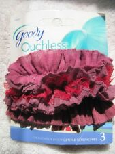 3 Goody Ouchless Coming Up Roses Gentle Soft Fabric Hair Band Ponytail Holders