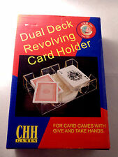 Revolving Dual Card Holder 2 Decks Playing Cards Games Rotation Clear Plastic