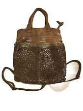 LANGELLOTTI BROWN TOP ZIP WOVEN & LEATHER CROSSBODY TOTE BACKPACK BAG  NEW