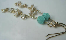 Carved Sleeping Beauty Turqouise Akoya Keishi Pearl 14K Solid Yellow Earrings
