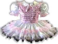 "45.5"" Lacy PINK Satin BIRTHDAY GIRL Adult Little Girl Baby Sissy Dress LEANNE"