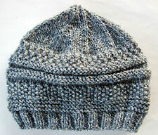 Hand-knitted Baby Hat - Blue with Grey Fleck Newborn