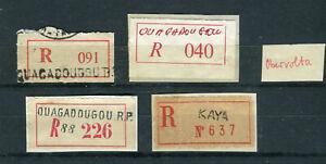 OBERVOLTA, 4 alte R-Zettel, verschiedene Typen, sehr selten