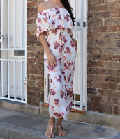 LABEL OF LOVE NWT LADIES BOHO WHITE FLORAL JUMPSUIT SIZE SMALL RRP $99.95