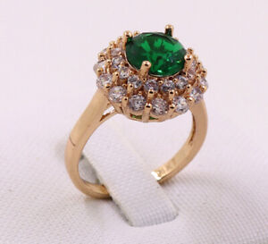 New Jewelry Natural  3.12ct Emerald 14k Solid Yellow Gold Ring Size 7.5#