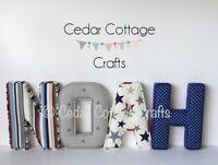 Fabric letters Personalised Handmade Nursery name, Wall Art, girl, boy, new baby