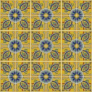 36 x Fairly Traded Handmade Ceramic Mexican Talavera Tile - 'Orlando' 10.5cm