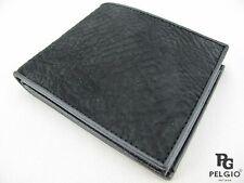 PELGIO Genuine Shark Skin Leather Soft Casual Bifold Credit Card Wallet Black