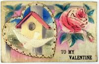 Postcard Heart with Bird House To My Valentine Rose