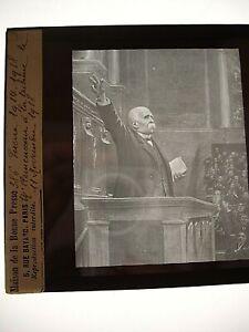 PLAQUE PHOTO POSITIF SUR VERRE - GUERRE 14-18 - CLEMENCEAU A LA TRIBUNE 11.11.18