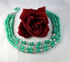 Vintage Japan 3 Strand Green Glass Beaded  Necklace FERAL  CAT RESCUE