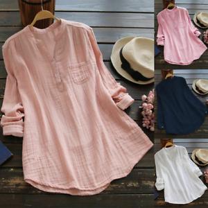Womens Ladies Soft Plain Blouse Loose Tops Casual Long Sleeve T-Shirt Tee Shirts