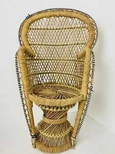 "Vintage Wicker Peacock Fan Back Rattan Chair 17.5"" Doll Plant Stand Boho Decor"