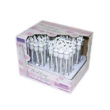 12x White Deluxe Wand Wedding Heart Bubbles Favours Blow Confetti 10cm Tube