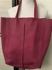 Firenze Designer Tote Bag Purple Genuine Leather SZ Large In Style Italy