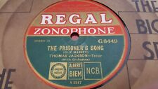 THOMAS JACKSON THE PRISONERS SONG & ROW ROW ROSIE REGAL ZONOPHONE G8449
