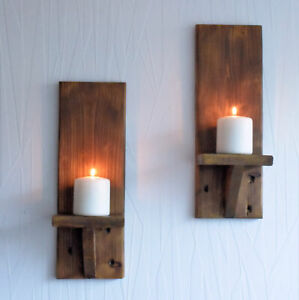 PAIR OF 40CM RECLAIMED WOOD RUSTIC WALL SCONCE LED CANDLE HOLDERS