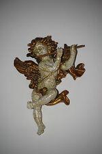 Engel Barock 17 cm Flöte Antik Gold Weiss Putte Engelfigur  Engel 104 Wandbild