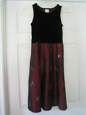 Burgundy red black girls size 10 sleeveless dress fancy sequins EUC  embroidery