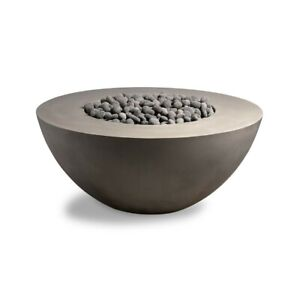 "Concrete Gas Fire Pit Table Bowl (42""W x 17"" H) - LP or NG hookup"