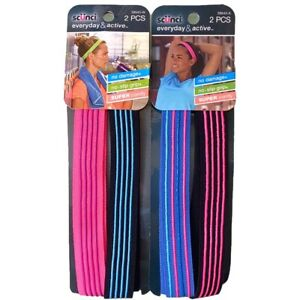 Lot of (2) Packs Scunci Everyday Active No Slip Grip Silicone Headbands  New