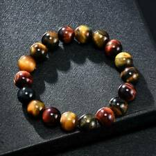 Natural Colorful Tigers Eye Stone Gemstone Beads Men Bracelet Bangle Jewelry Hot