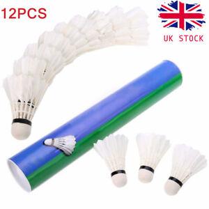 Shuttlecocks12pcs Goose Feather Badminton Ball Birdies Sports Training Game UK