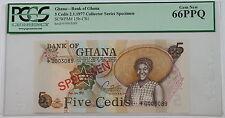 2.1.1977 Bank of Ghana 5 Cedis Specimen Note SCWPM# 15b-CS1 PCGS 66 PPQ Gem New