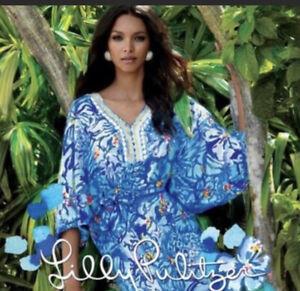 lilly Pulitzer Wilda  small dress 4-6 Long Maxi Resort Wear Caftan Kimono Style
