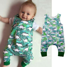 Newborn Baby Boys Girls Cartoon Dinosaur Print O-Neck Romper Jumpsuit Outfits