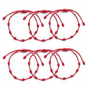 10pcs 7 Knots Red Rope Bracelet Protection Lucky Amulet for Success Wholesale