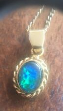Vintage Solid Sterling Silver, Gold Coated Black Opal Pendant And Chain