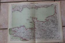 Ancienne carte Atlas universel Géographie 1919 N°9 France Nord Ouest - Hachette