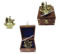 NAUTICAL Antique Brass Marine Sextant Navigation Nautical Marine Vintage Wooden